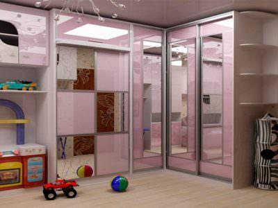 Шкаф-Купе в Детскую комнату с полками для игрушек