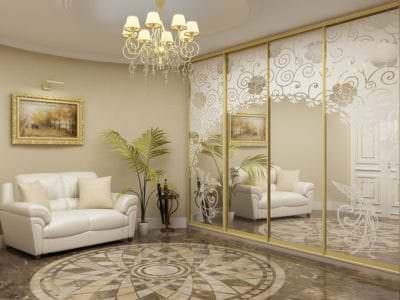 Шкаф-Купе в гостинную с Пескоструйным рисунком